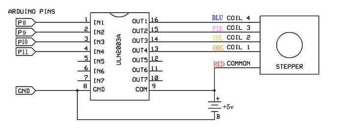 Aansluitschema on 5 Phase Stepper Motor Wiring Diagram
