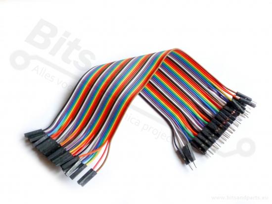 Breadboard jumper kabeltjes Dupont 20cm female/male 40x