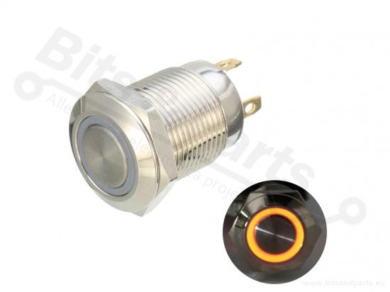 Drukcontact 12mm metaal rond 36V/2A geel/oranje