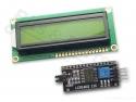 Display LCD HD44780 - 16x2 zwart op geel-groen met I2C interface