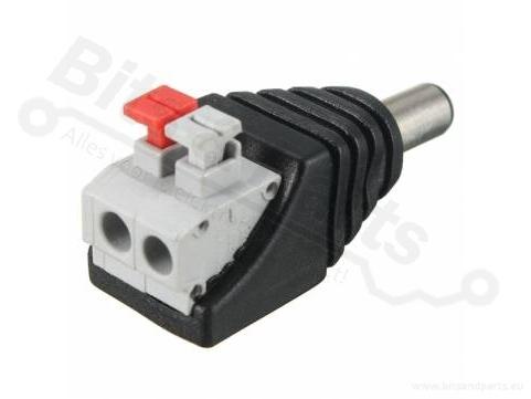 Voedings-stekker Jack Plug Male DC 2,1x5,5mm met quick connectors