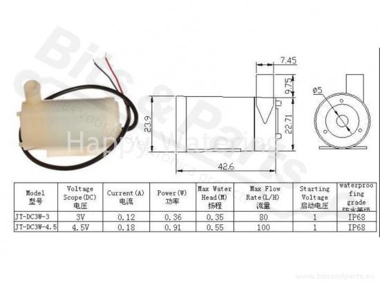 Doseringspomp/Waterpomp dompelpomp 3-6V 120l/h