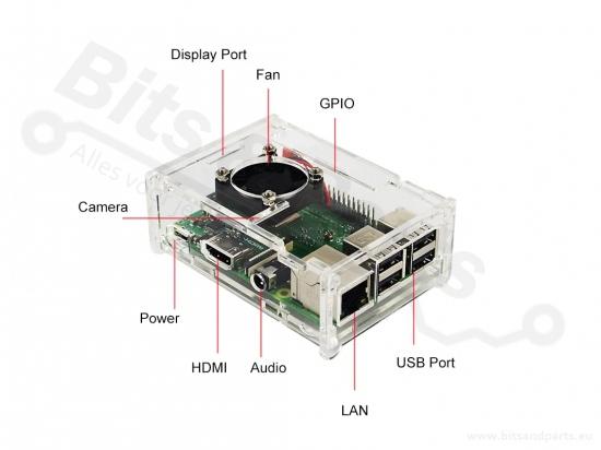 Behuizing / Case Raspberry Pi B+/2/3 acryl helder incl. koelfan