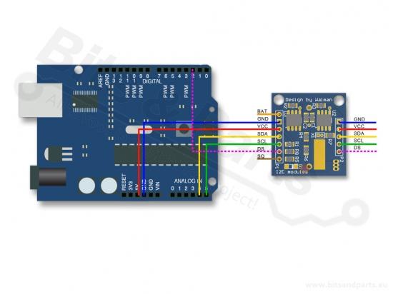 Real Time Clock/RTC DS1307 I2C - Tijdklok breakout board/module