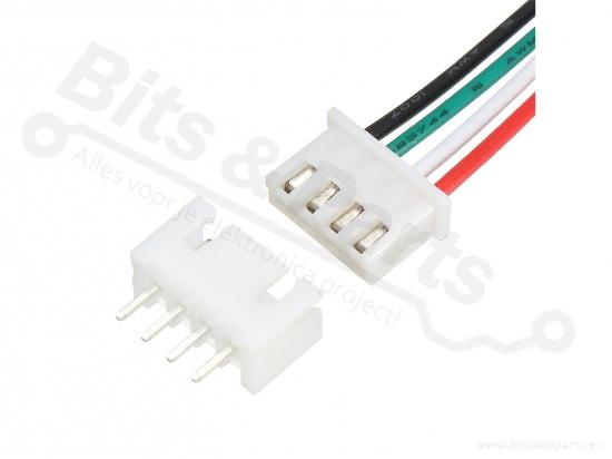 Signaalconnector 4-polig JST XH 2.54mm met draad en socket 15cm