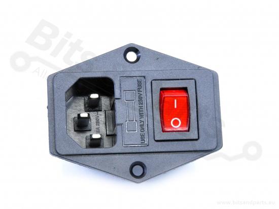 Chassisdeel/Socket C14 male met schakelaar en zekering