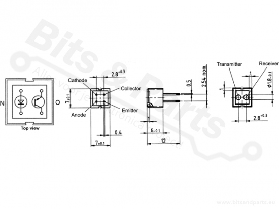 Infrarood/IR reflectie sensor optocoupler CNY70