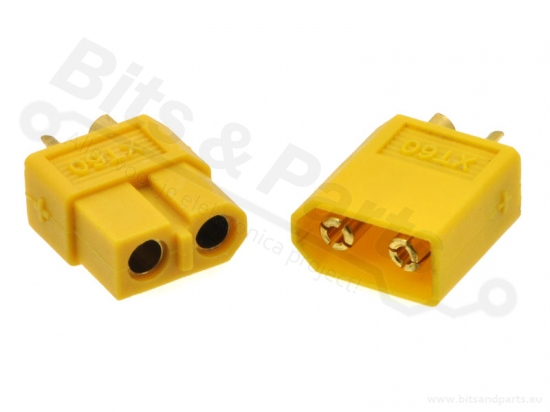 Voedingsconnectors XT60 male+female 65A 2pins geel - Pololu 2175