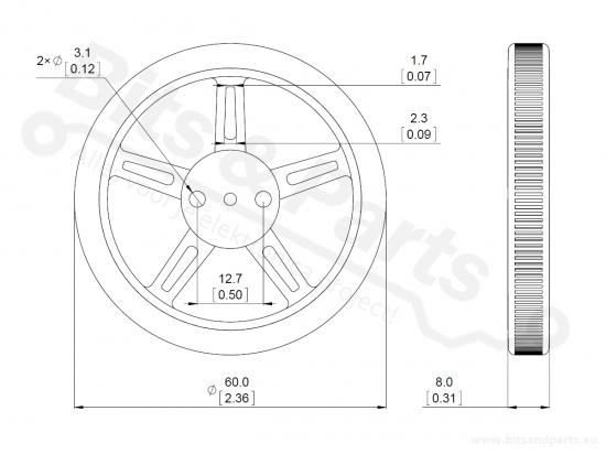 Wielenset voor FEETECH FS90R 360 graden/continuous rotation servo