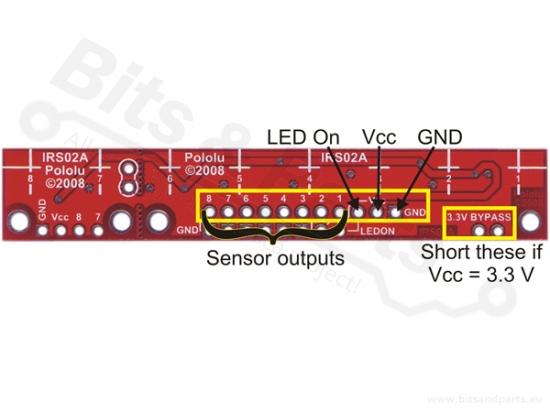 Infrarood/IR reflectie sensor (Lijnvolger) analoog - Pololu QTR-8A