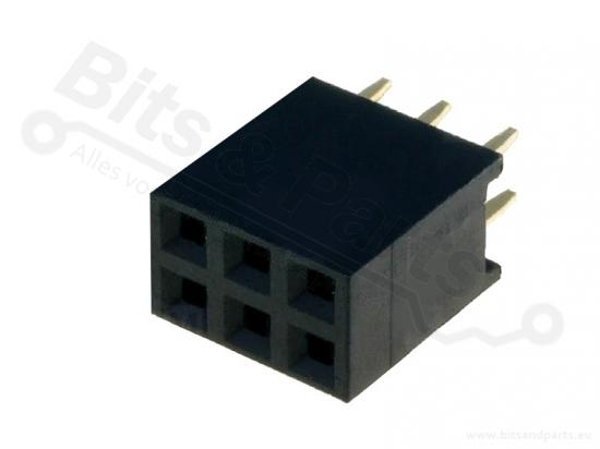 Headerpin socket female 2x3 pins