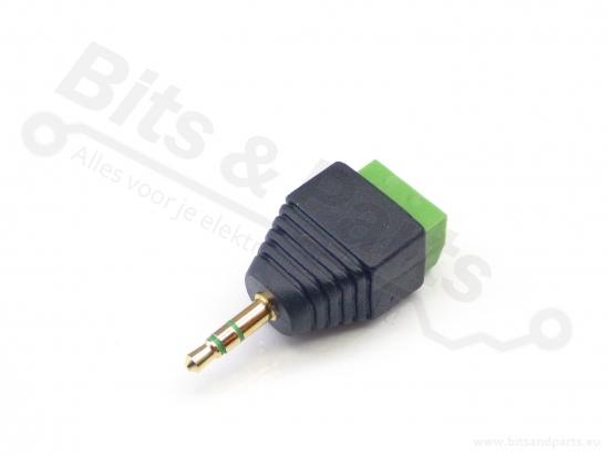 Jack plug male 3,5mm stereo met kroonsteen-aansluiting