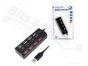 USB 2.0 Hub 4 poorten met aan/uit schakelaars en voeding - LogiLink