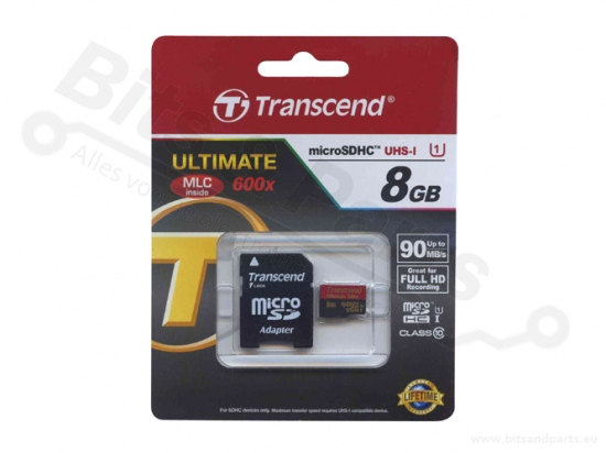 SD Card geheugenkaart Transcend 8GB class 10 SDHC UHS-I MicroSD