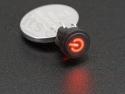 Microswitch drukknop (maakcontact) met verlicht 'power'-symbool rood
