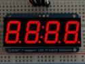 Cijferdisplay 4-Digit 7-Segments Rood 1,42cm + I2C backpack - Adafruit 878