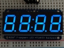 Cijferdisplay 4-Digit 7-Segments Blauw 1,42cm + I2C backpack - Adafruit 881
