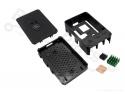 Behuizing / Case Raspberry Pi B+/2/3 ABS zwart met Pi logo en heatsinkset