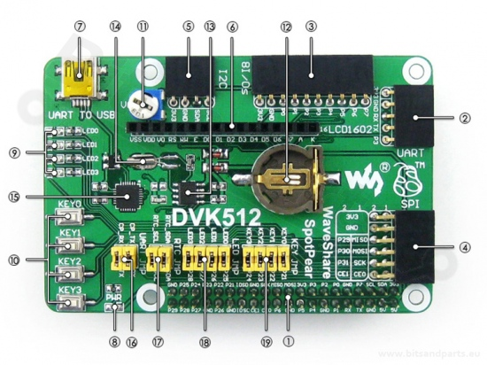 Expansion / GPIO board DVK512 voor Raspberry Pi 1A+/1B+/2B/3B