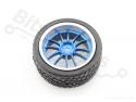 Wiel/Band voor smart car / robot - 65mm blauw
